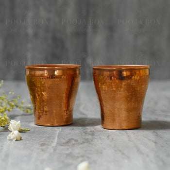 Doria Terracopper Tumbler Set Of 2 Pooja Items