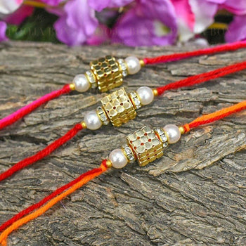Golden Beaded Dice Rakhi Set Of 3