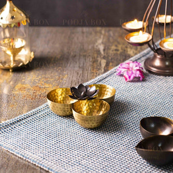 Handcrafted Antique Brass Pooja Samagri Bowl Items
