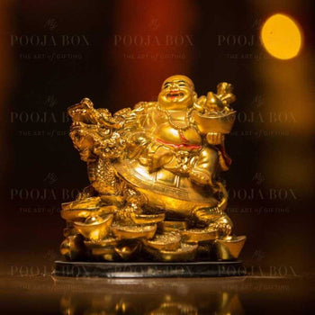 Laughing Buddha With Dragon Tortoise On Bed Of Wealth Feng Shui