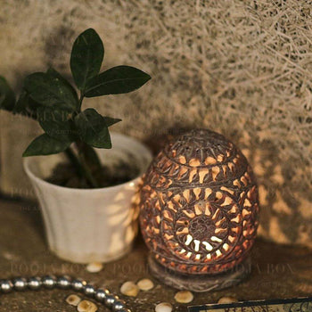 Leafy Mural Lattice Work Candle T-Light Holder In Oval Shape Home Decor