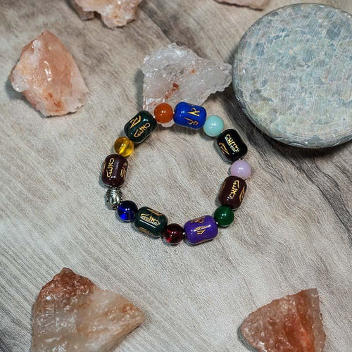 Multi Color Cylidrical Round Chinese Bracelet