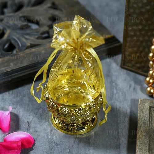 Shimmering Gold Trinket Box With Rose Pattern Jewellery