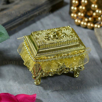 Shimmering Gold Trinket Box With Rose Pattern (Material: Plastic) Gifting