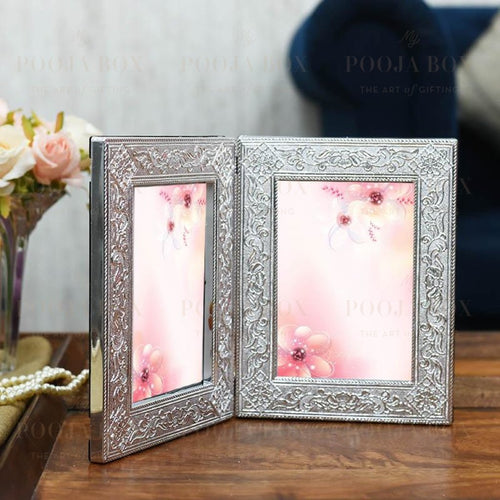 Silver Leaf Double Motif Photo Frame Home Decor