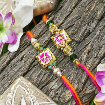 Stunning Hand-Painted Fancy Rakhi Set Of 2