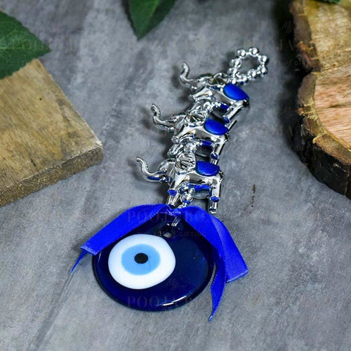 Turkish Evil Eye & Elephants Wall Hanging Protection Amulet Feng Shui