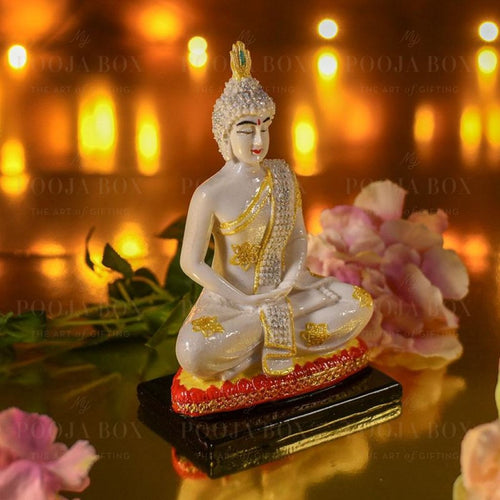 White Marble Dust Buddha Idol
