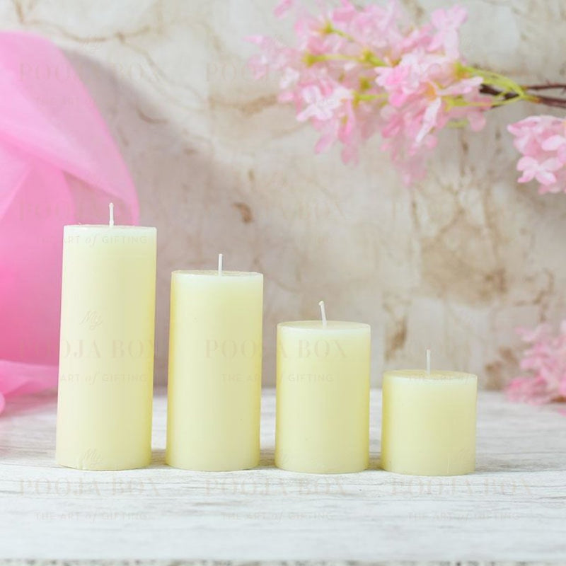 White Pearl Lustre Candle Set Of 4