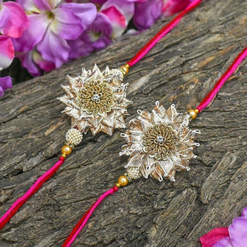 buy set of 2 zardosi gota patti Rakhi online in India