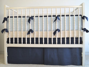 Linen Crib Bedding Set  - Navy blue boy crib bedding - Moods The Linen Store