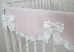 Crib Rail Cover - Girl Nursery, Pink Linen - Moods The Linen Store