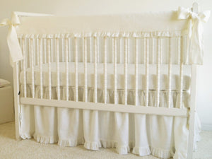 Crib Rail Cover - White linen crib bedding - Moods The Linen Store