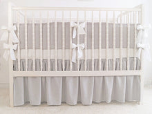 Gray Linen Crib Bedding Set - with white ties - Moods The Linen Store