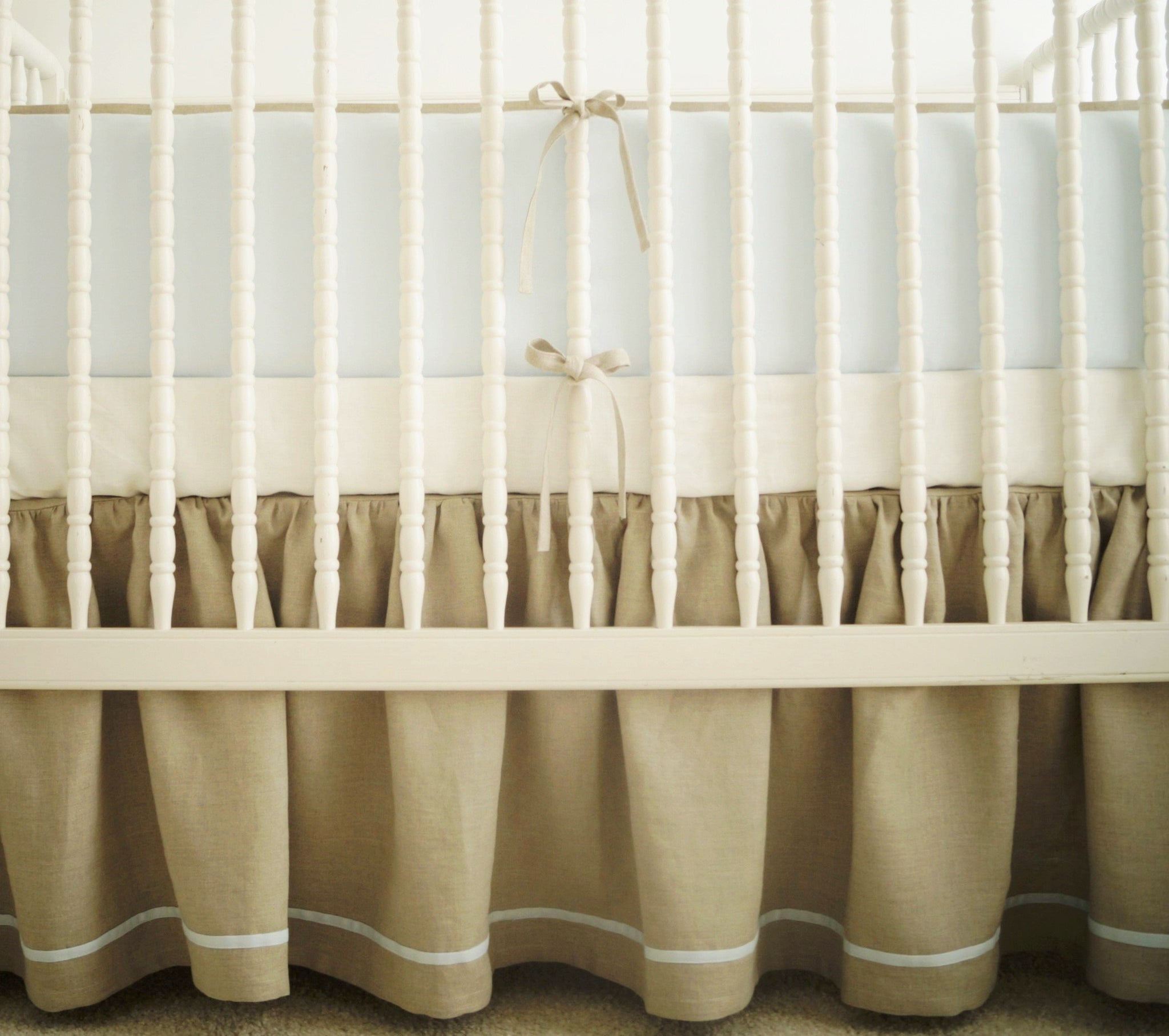 Linen Crib Bedding Set Boy Nursery