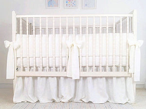 White Linen Crib Bedding Set - Moods The Linen Store