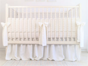 White Linen Crib Bedding Set