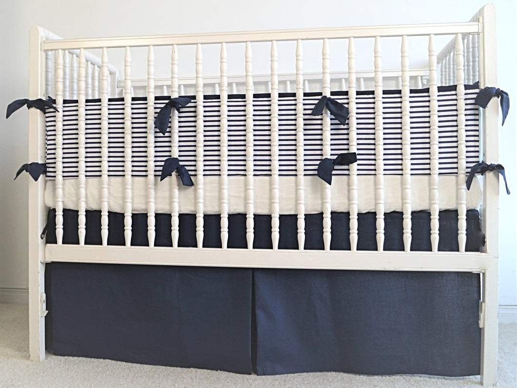Nautical  Crib Bedding Set  - Navy crib bedding - Moods The Linen Store