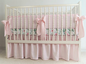 Pink Linen Crib Bedding Set -  girl bedding - Moods The Linen Store