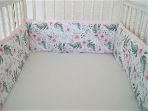 Pink  Crib Bedding Set -  Floral, girl bedding - Moods The Linen Store