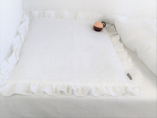 Linen Baby Bedding - white bedding with ruffle