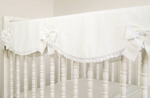 Crib Rail Cover - Pure  white linen - Moods The Linen Store