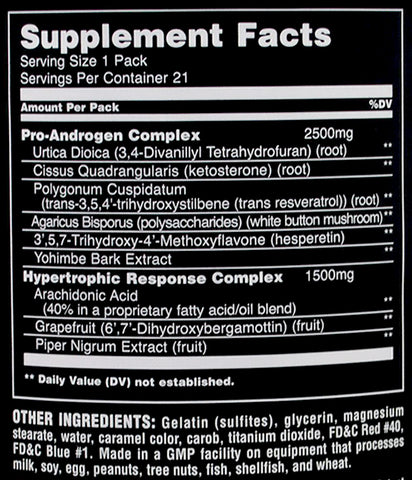 Universal Animal Test Supplement Facts