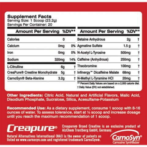 MTS Nutrition Clash Pre-Workout Ingredients