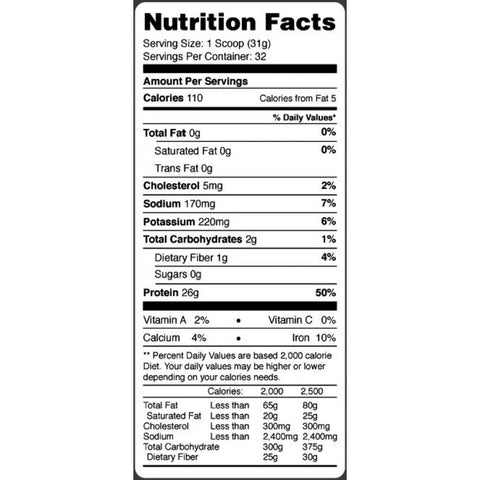MTS Isolate Ingredients & Supplement Facts