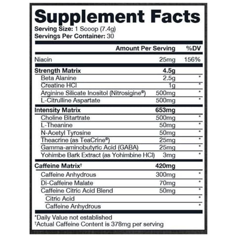 Pro Supps Hyde Xtreme Ingredients