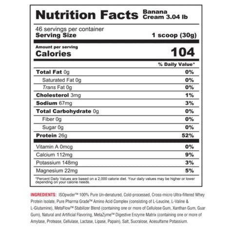 Metabolic ISO PWDR 3 Pounds Ingredients