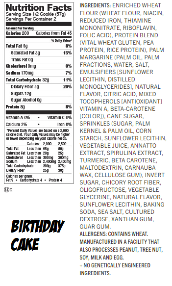 Lenny & Larry's Complete Cookie Birthday Cake Label