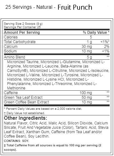 Optimum Nutrition Amino Energy Natural Fruit Punch Label