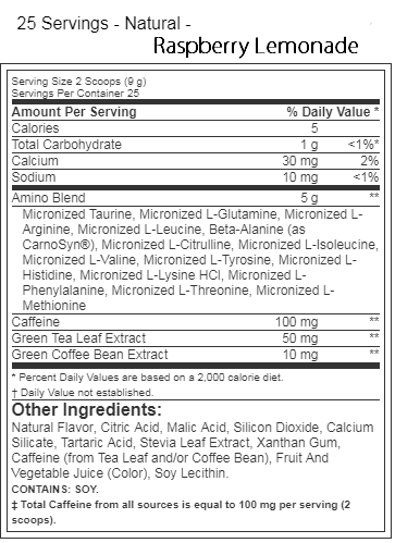 Optimum Nutrition Amino Energy Natural Raspberry Lemonade Label