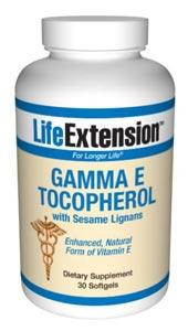 Life Extension Vitamins, Minerals, Herbs & More Life Extension Gamma E Tocopherol with Sesame Lignans 30 Softgels (581093195820)
