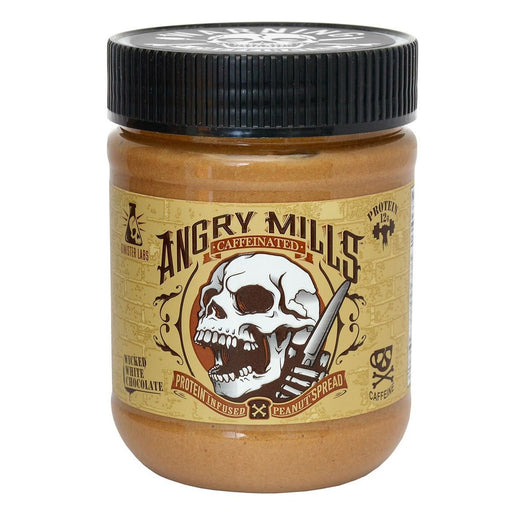 Sinister Labs Sports Nutrition & More Angry Mills Caffeinated Protein Infused Peanut Spread Wicked White Chocolate (582648135724)