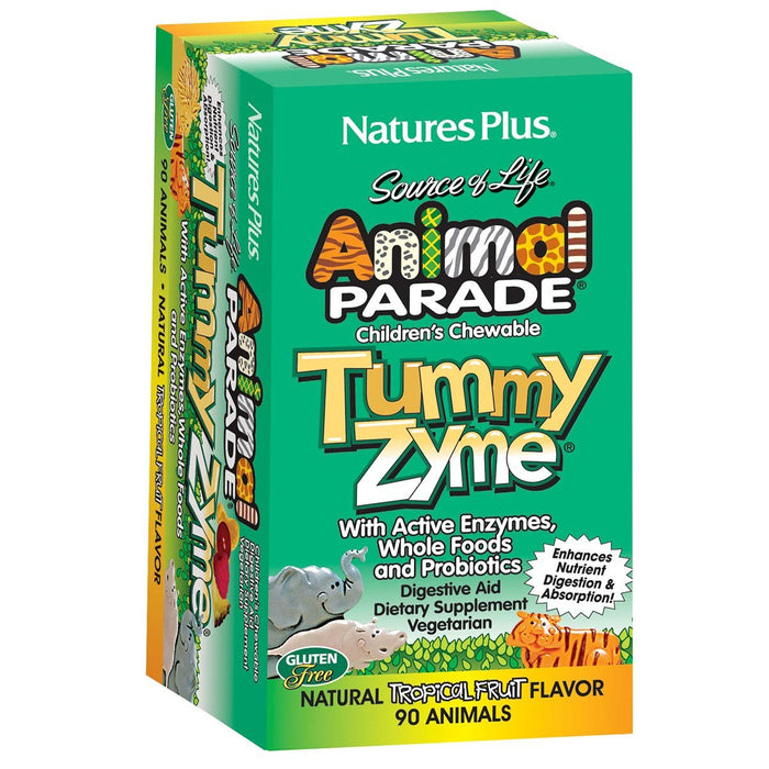 Nature's Plus Vitamins, Minerals, Herbs & More Nature's Plus Animal Parade Tummy Zyme Tropical 90 Chews (581013471276)