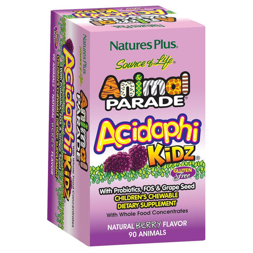 Nature's Plus Vitamins, Minerals, Herbs & More Nature's Plus Animal Parade Acidophi-Kidz Berry 90 Chews (580949278764)