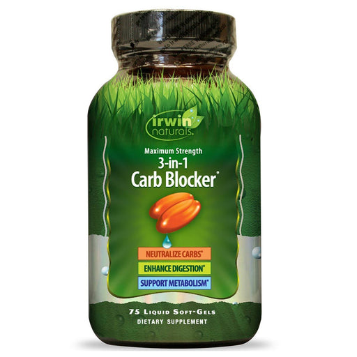 Irwin Naturals Sports Nutrition & More Irwin Naturals Maximum Strength Phase 2 Carb Blocker 75 Liquid Soft Gels (580737007660)