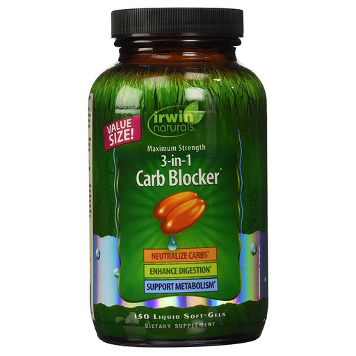 Irwin Naturals Sports Nutrition & More Irwin Naturals 3-in-1 Carb Blocker 150 Liquid Soft Gels (581611814956)