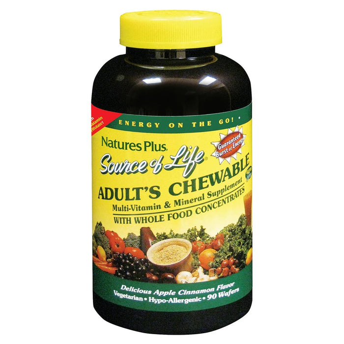 Nature's Plus Vitamins, Minerals, Herbs & More Nature's Plus Source of Life Multi Vitamin and Mineral  Adult Chewable 90 Wafers (580549476396)