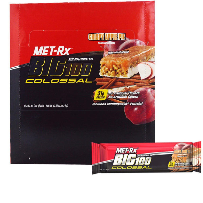 Met-Rx Sports Nutrition & More Crispy Apple Pie Met-Rx Big 100 Colossal Bars 12/Box (580791730220)
