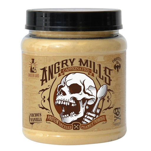 Sinister Labs Sports Nutrition & More Angry Mills Protein Infused Peanut Powder Caffeinated Vicious Vanilla (582647447596)