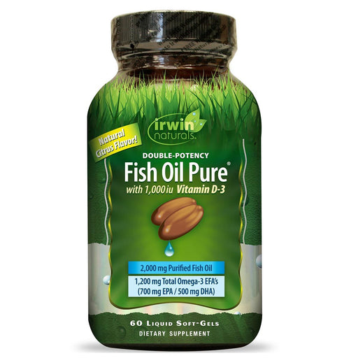 Irwin Naturals Vitamins, Minerals, Herbs & More Irwin Naturals Double Potency Fish Oil Pure Natural Citrus Flavor 60 Liquid Soft-Gels (581328896044)