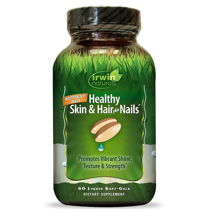Irwin Naturals Vitamins, Minerals, Herbs & More Irwin Naturals Healthy Skin and Hair plus Nails 60 Liquid Soft Gels (580858282028)