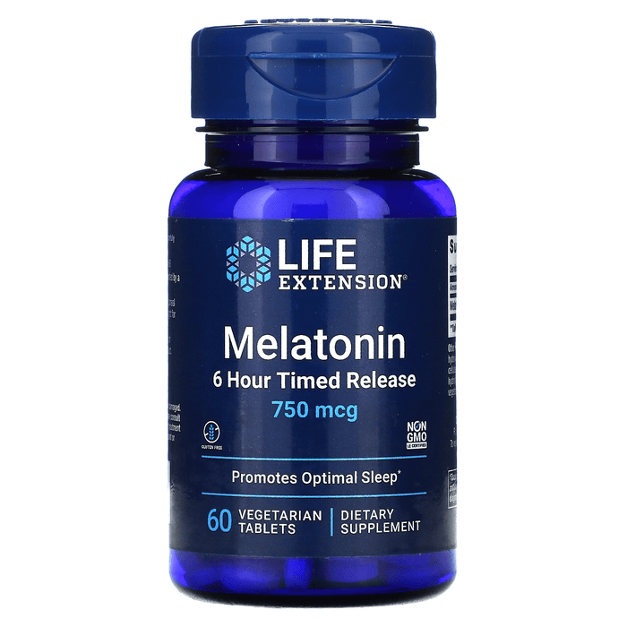 Life Extension Vitamins, Minerals, Herbs & More Life Extension Melatonin (6 Hour Timed Release) 750 mcg 60 Caps
