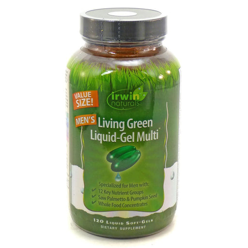 Irwin Naturals Vitamins, Minerals, Herbs & More Irwin Naturals Men's Living Green Liquid-Gel Multi 120 Gels (581451120684)