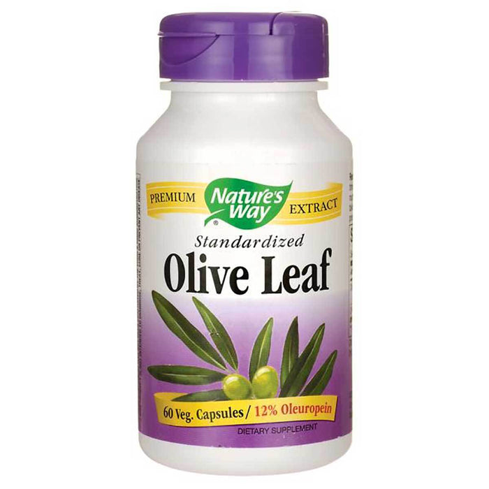 Nature's Way Vitamins, Minerals, Herbs & More Nature's Way Olive Leaf Standardized 12% Oleuropein 60 Vege Caps (580655054892)