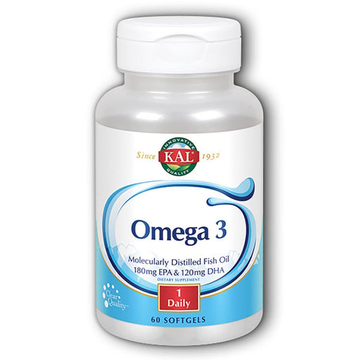 Kal Vitamins, Minerals, Herbs & More Kal Omega-3 Fish Oil 60 Softgels (580635852844)