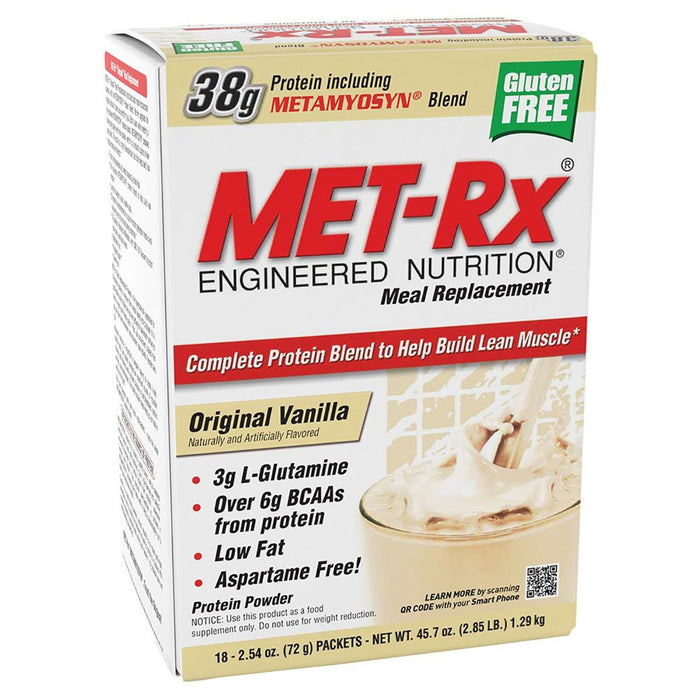 Met-Rx Sports Nutrition & More Vanilla Met-Rx Met-Rx Original MRP 18 Pack (580938399788)